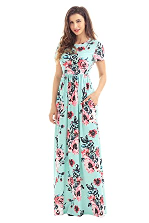 9d324a04f4 LUCKLOVELL Women Sexy Pocket Design Short Sleeve Mint Floral Maxi Dress  ((US 16-