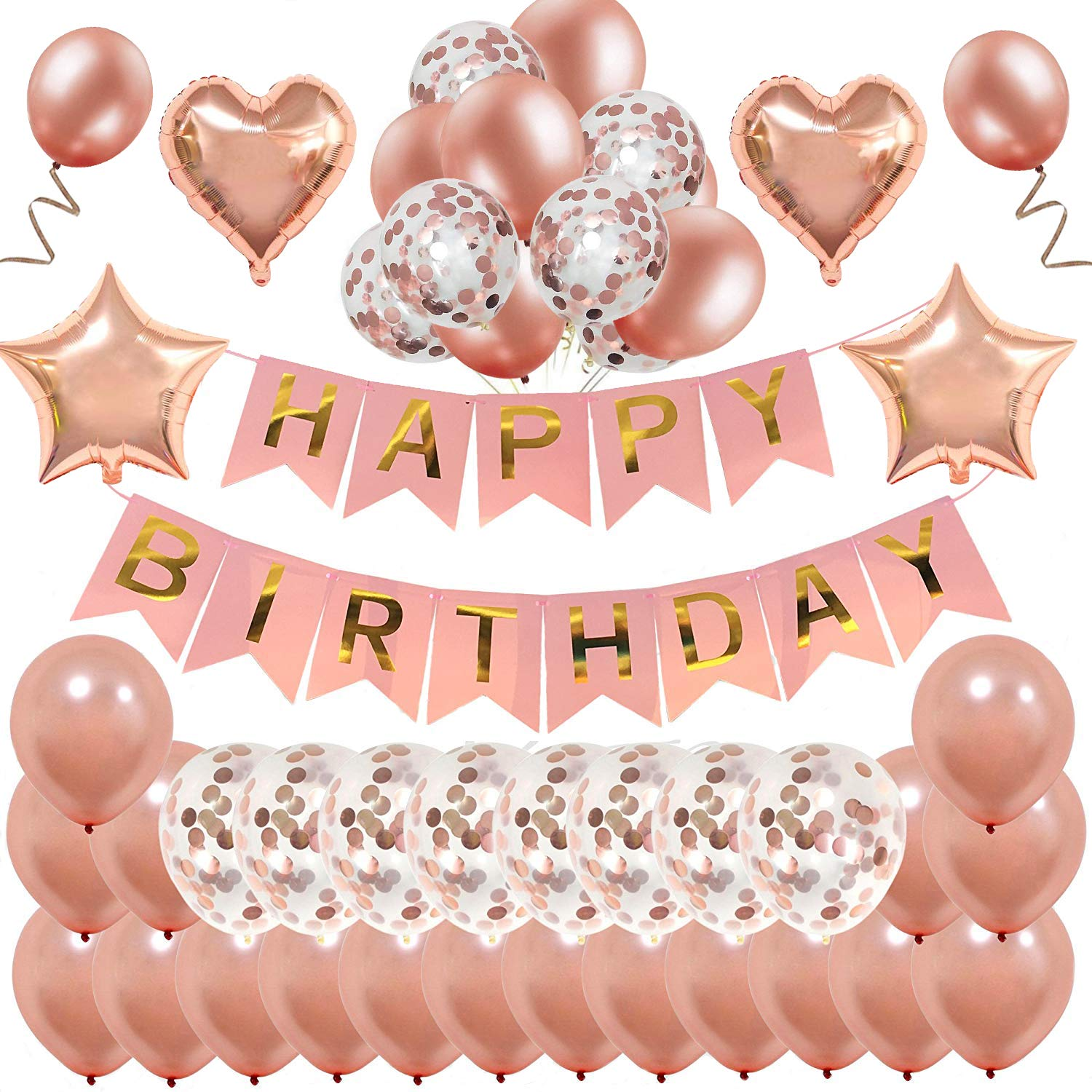Amazon Rose Gold Birthday DecorationsMMTX Happy Banner Bunting For Girls And Women With 32 Latex Balloons 12 Confetti Foil