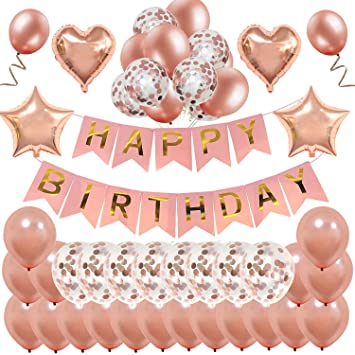 Rose Gold Birthday DecorationsMMTX Happy Banner Bunting For Girls And Women With 32