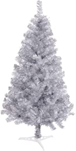 Arthas 6' Ft Tinsel Christmas Tree for Home Décor Xmas Holiday Seasonal Sparking Gorgeous Folding Artificial Christmas Tree (Silver)