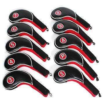 12 piezas numeradas para cabezas de cubierta superior valorada en fundas para palos de Golf Putter juego de negro y rojo para todo tipo de marcas ...