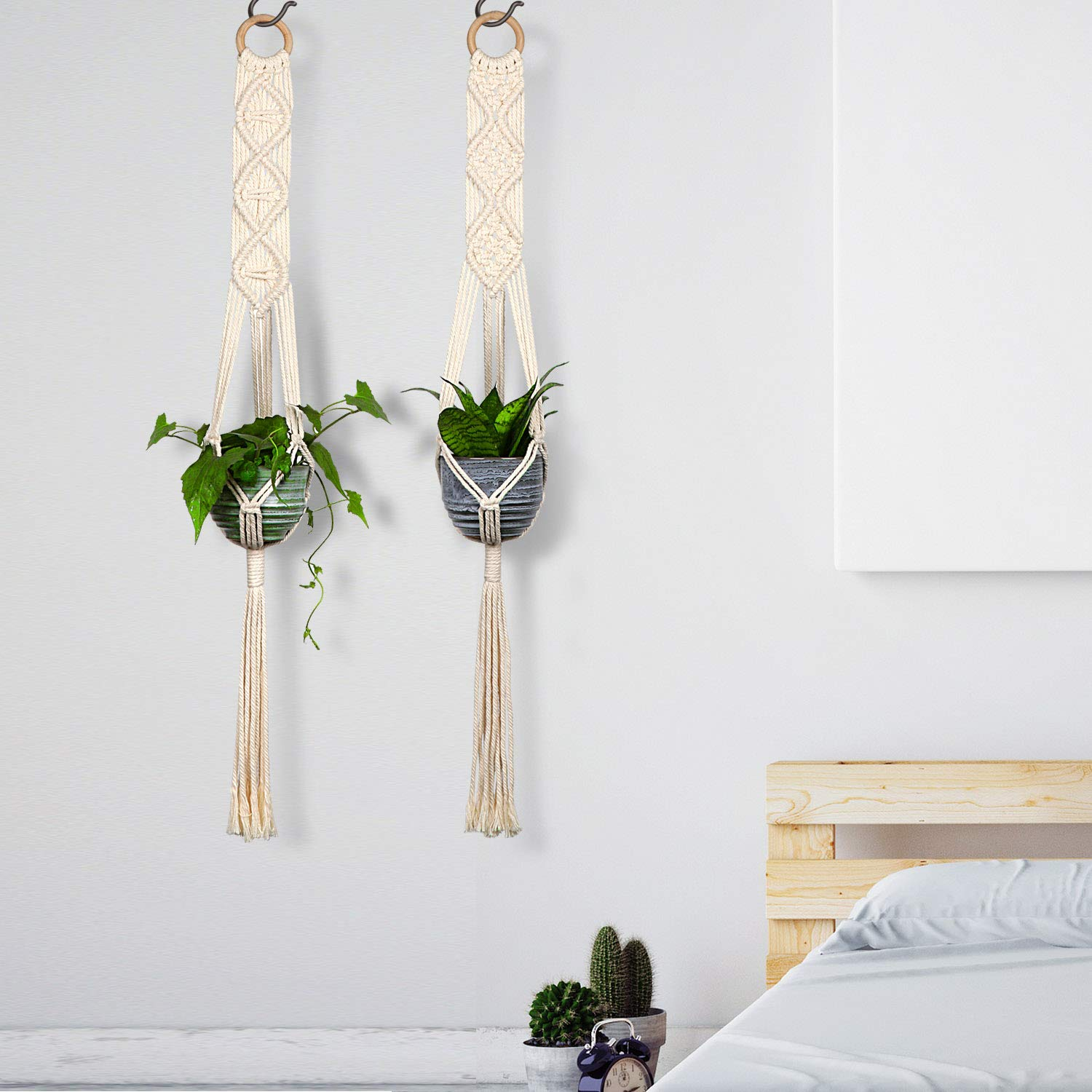 Macrame Plant Hangers - Hanging Planter Pot Holder - Boho Accent Plants Flower Pots Hangers - Planters Hanger Handmade by 100% Natural Cotton Rope Wall Art Home Decor, Set of 2