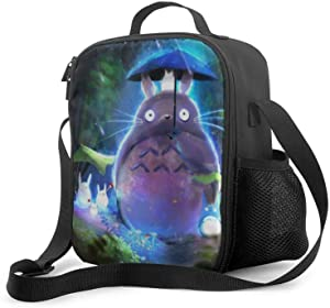 Reusable Lunch Bags M-y Neigh-bor To-to-ro Insulated Lunch Bag, Adjustable Suitable Boys/Girls Lunch Tote Bag with Drinks Holder, Large Size Food Warming Tote for Camping