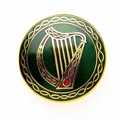 Sea Gems Green Celtic Harp Designed Brooch m9lsfnF