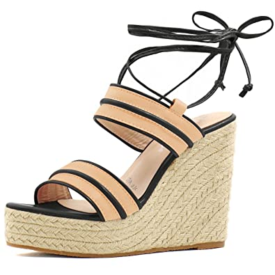 8ebb12c5015 Allegra K Women Striped Ankle Tie Espadrille Wedges (Size US 5.5) Apricot  Black