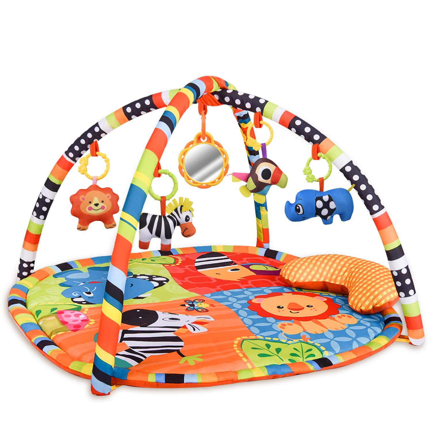 Rainbrace Baby Activity Play Gym Infant Play Mat with Removable Crossed Arches Hanging Plush Toys and Balls for Baby Tummy Time with Ball Pit (30 Ocean Balls Included)