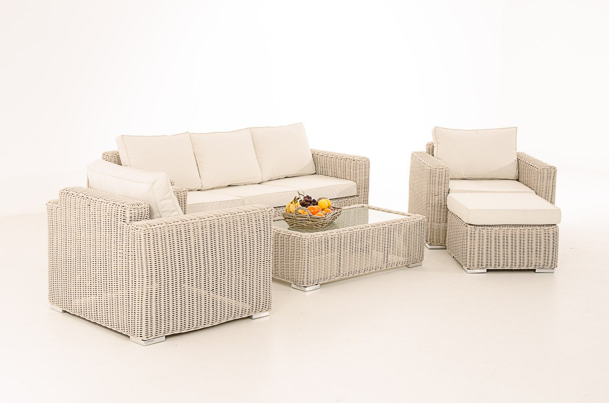 Mendler 3-1-1 Gartengarnitur CP053 Sitzgruppe Lounge-Garnitur Poly-Rattan ~ Kissen cremeweiß, perlweiß