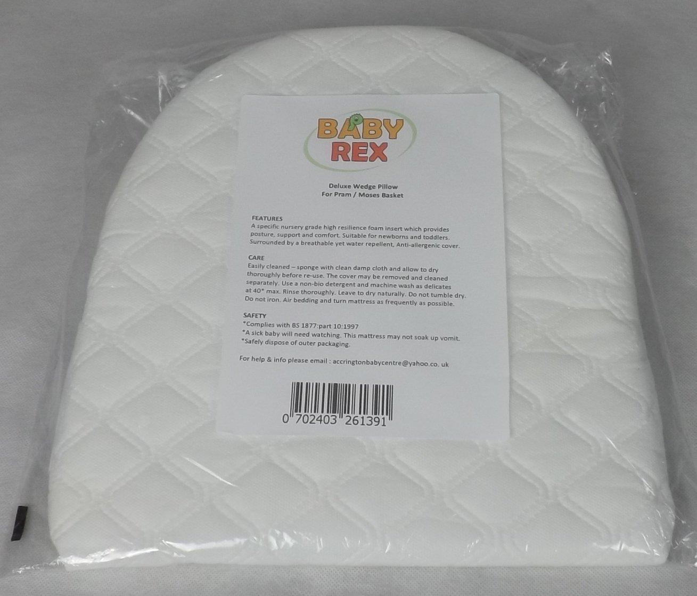 BABY REX ® Baby Breath Easy Sleep Wedge Pillow - Pram Moses Basket Crib -Helps Colic Reflux BABY REX®