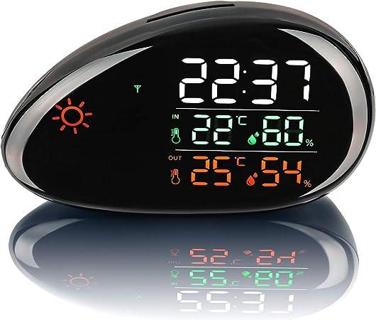 SEBSON Station Météo Radio Pilotée avec Capteur Extérieure et Intérieure, Température, Prévisions Météo, Humidité, Ecran Couleur LED, Horloge, Reveil