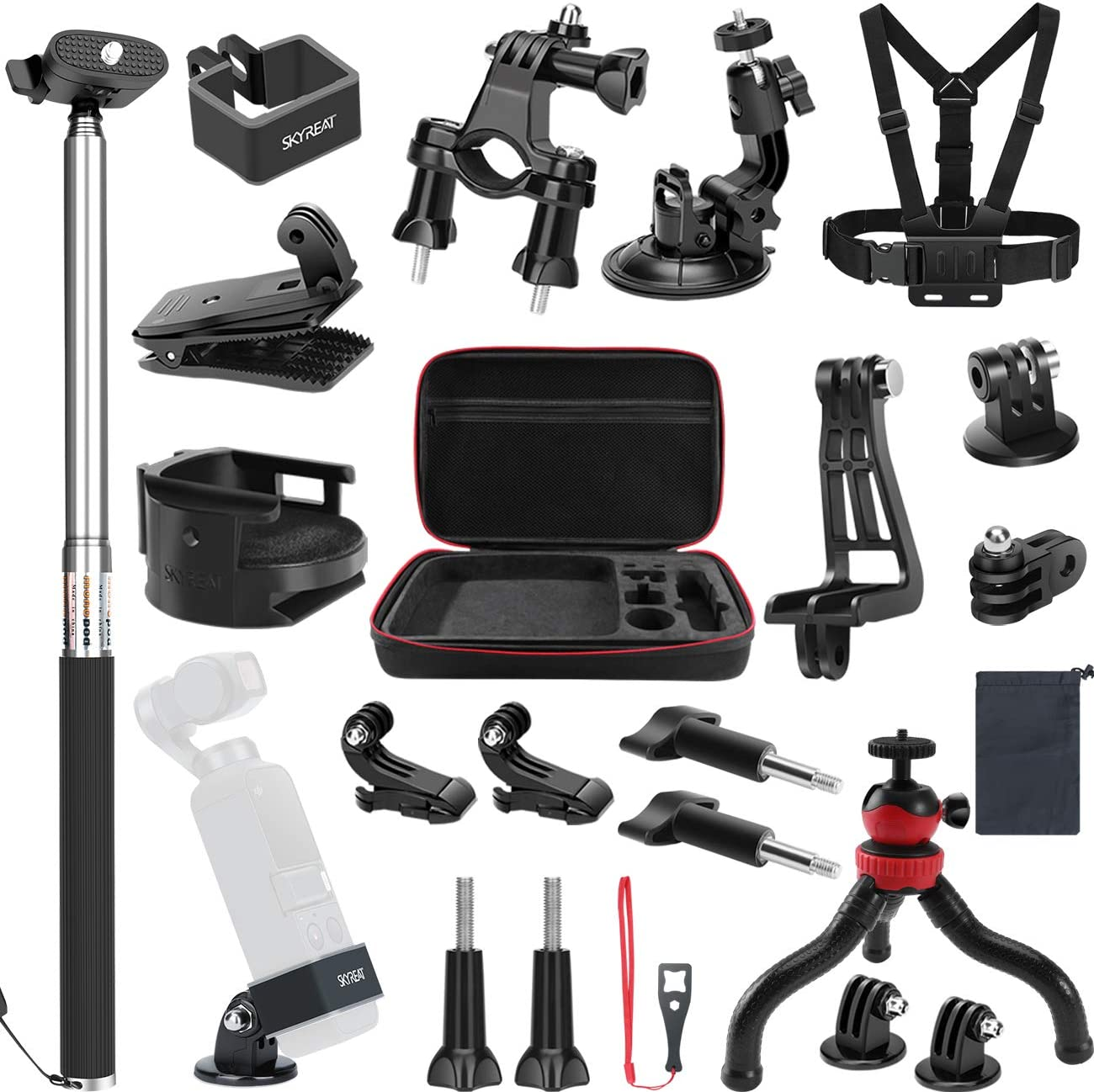 25 PCS Skyreat Expansion Accessories Kit for DJI Osmo Pocket Includes Carrying Case Backpack Strap Selfie Stick Tripod Holder for Osmo Pocket
