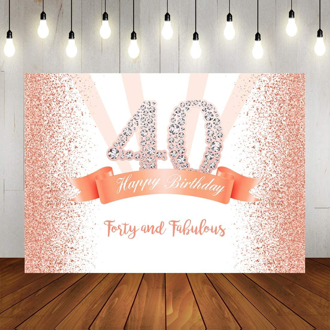 10x8ft Vinyl Fabulous 40th Birthday Photography Background Golden Glitter Sequins Edge Birthday Party Backdrop Adult Middle-Aged Birthday Party Banner Family Gathering Celebration