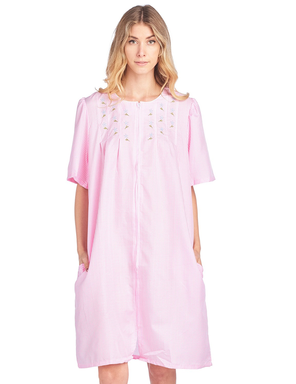 Casual Nights Women's Zipper Front Short Sleeve Gingham Housecoat Duster - Pink - XX-Large