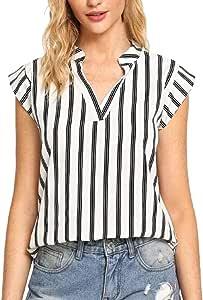 ManxiVoo - Blusa de Rayas Verticales para Mujer, Cuello en V ...