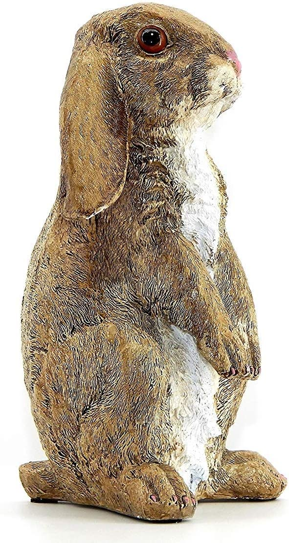 Bellaa 23127 Standing Rabbit Statue Curious Cute Outdoor Garden Patio Sculpture 10 inch Presents for Mom Gifts for Grandma