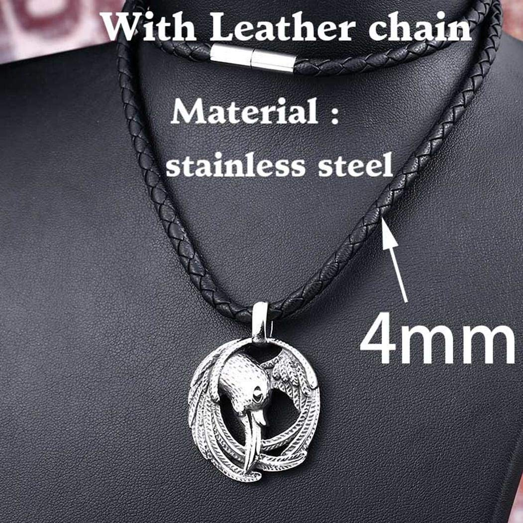 JEWURA Norse Viking Odins Raven Necklace Raven Pendant Braided Leather String