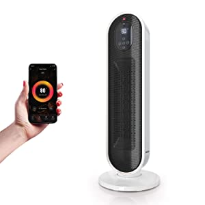 ATOMI Smart Wifi Tower Heater - 1500W Personal Space Heater controlled with Alexa, Google Home, IOS & Android - Portable room heater for bedroom and oscillating space heater for home & office