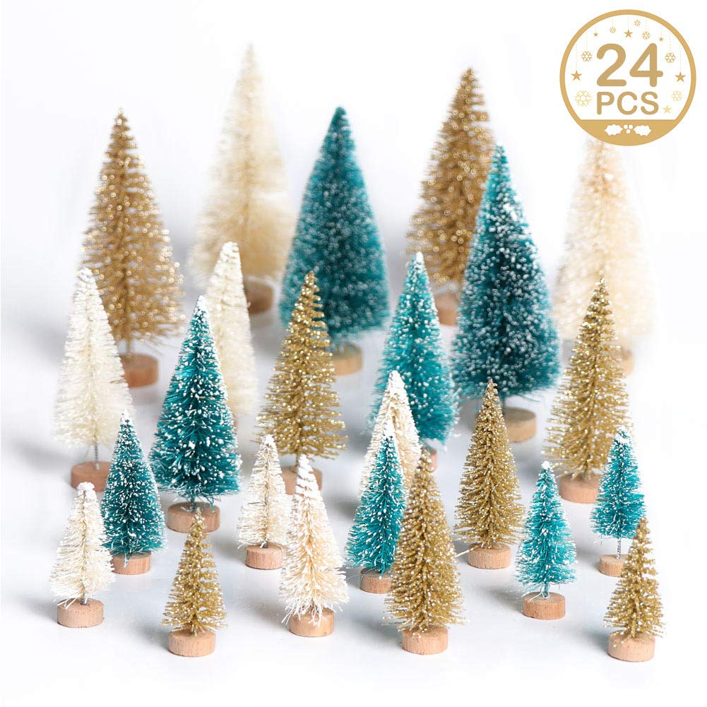OurWarm 24pcs Artificial Sisal Christmas Tree Mini Pine Tree with Wood Base DIY Crafts Home Table Top Decor Christmas Ornaments Green, Gold and Ivory