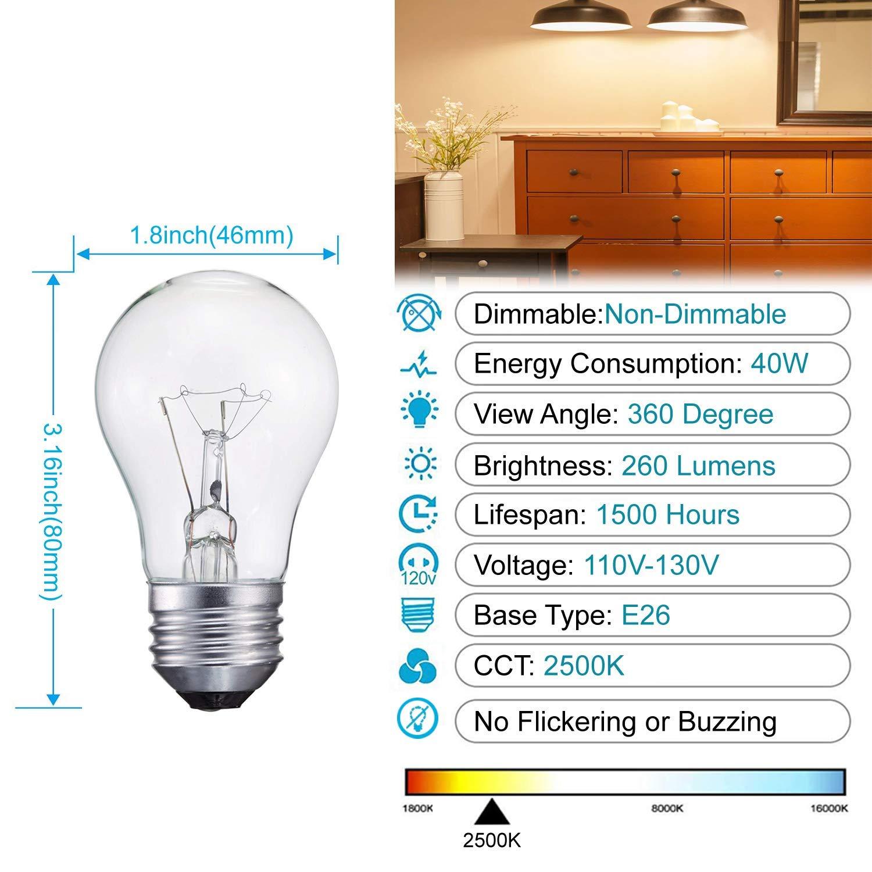 40-Watt Appliance Bulb, Appliance Light Bulb 40w A15, 120v 40w Refrigerator Bulb Clear Ceiling Fan Bulbs Medium (E26) Standard Household Base Crystal Clear, 24Packs by LEDESIGN (Image #4)