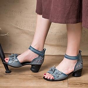 Wealsex Cm Bride Cuir Carre Sandale Talon 4 Confort Fleurs Femme dxBCoe