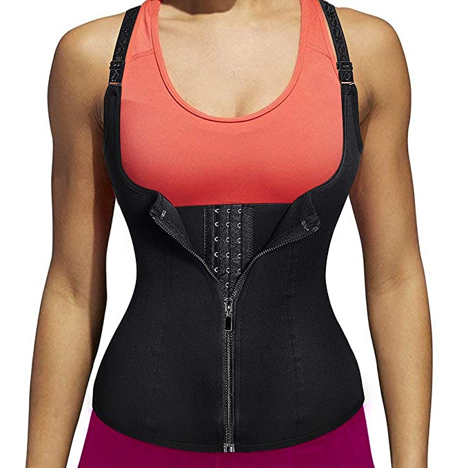 236effa097 MUKATU Women s Zipper Neoprene Waist Trainer Corset for Weight Loss Tummy  Control Body Shaper Vest with Adjustable Straps