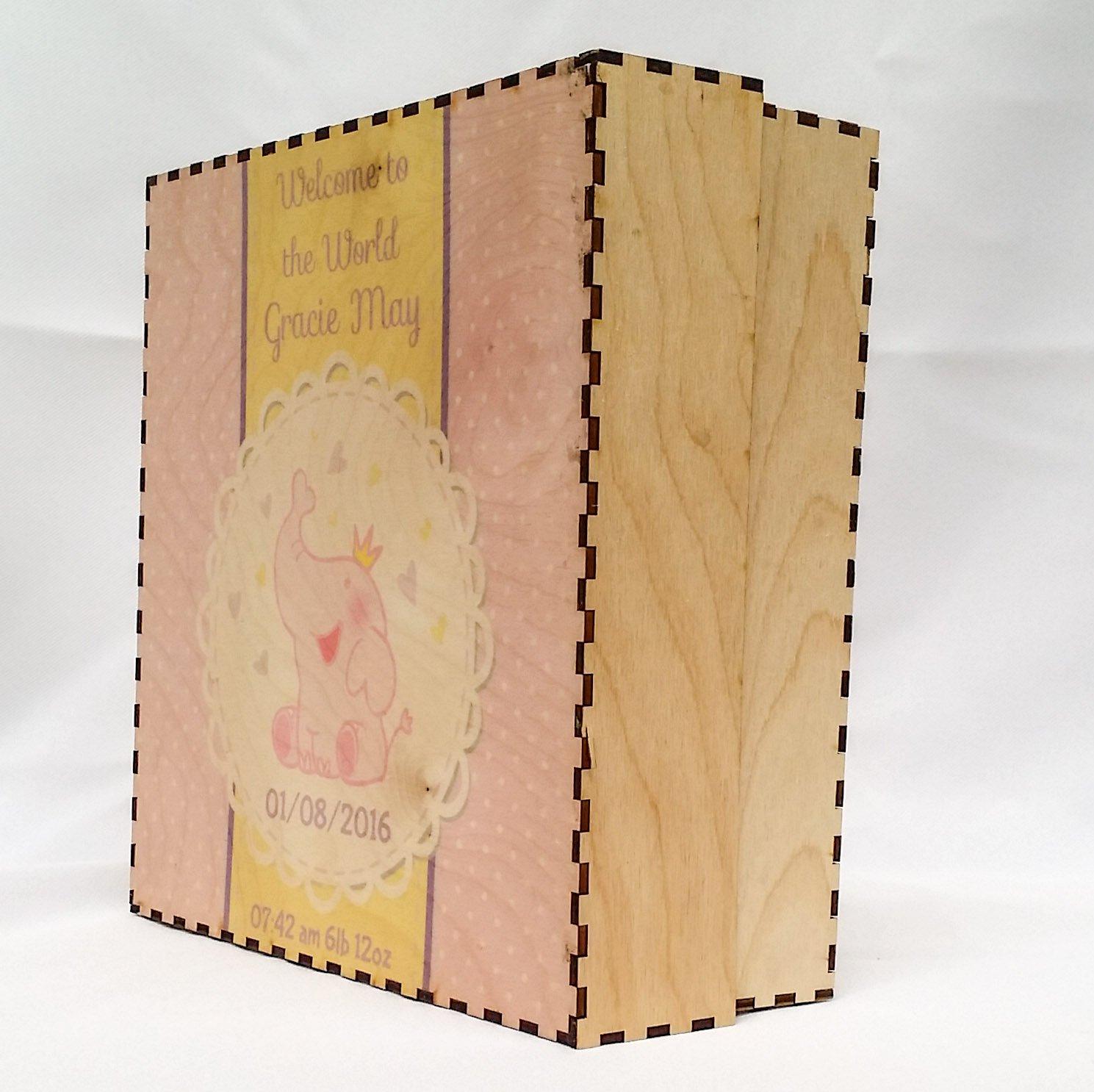 Personalised New Born Keepsake Box - baby shower gift, memory box, new baby gift, new baby keepsake, baby girl Legacy Lasercrafts