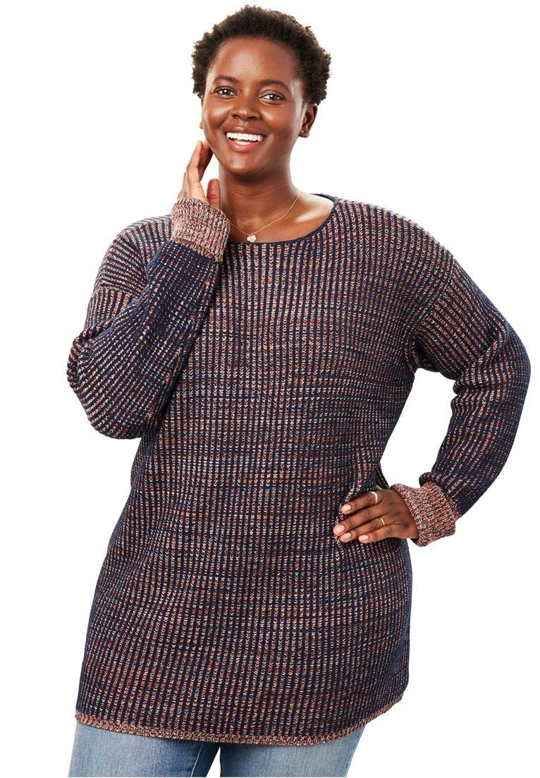 Woman Within Women's Plus Size Multi Chunky Knit Sweater