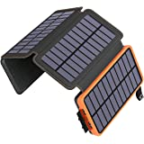 ADDTOP Solar Charger 25000mAh Huge Capacity Solar Power Bank with Dual 5V/ 2.1A Outputs High-Speed & 4 Solar Panels, Portable