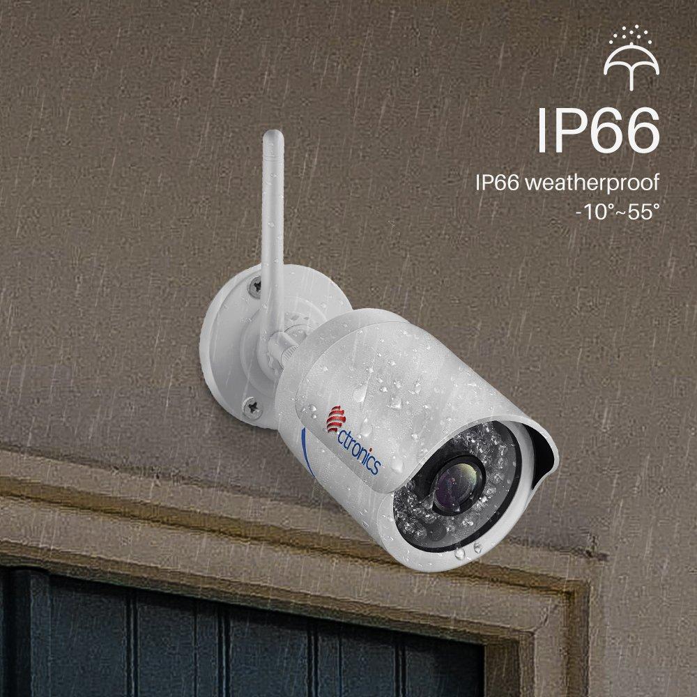 Ctronics drahtlose IP Kamera Überwachungskamera für den Outdoor Wlan Cam mit WiFi,720p HD,Nachtsicht,Bewegungserkennung,Email-Alarm für PC, Smartphone,Tablet,CMS Fernzugriff und bis 128GB SD