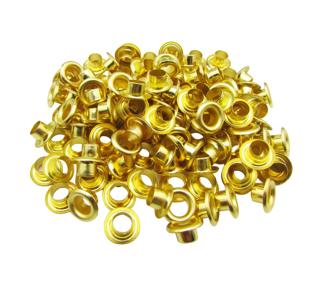 Amanaote 3mm Internal Hole Diameter Golden Eyelets Grommets with Washer Self Backing Pack of 200 Sets