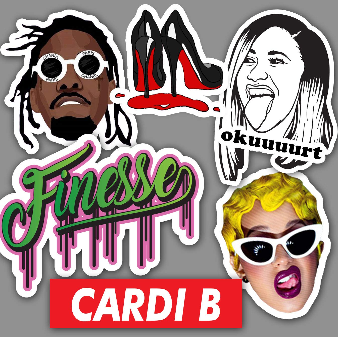 Cardi B Sticker Set NUMBER 2 **Water Proof Stickers**
