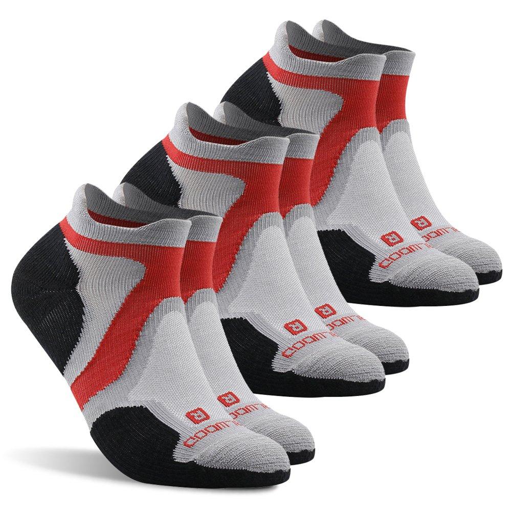 Running Socks, ZEALWOOD Men and Women Cushion No Show Tab Athletic Running Socks,Run Ultra Light Micro Antimicrobial Socks,Merino Wool Ankle Socks Multi-Sport Padded Sock-Grey/Black,Medium by ZEALWOOD