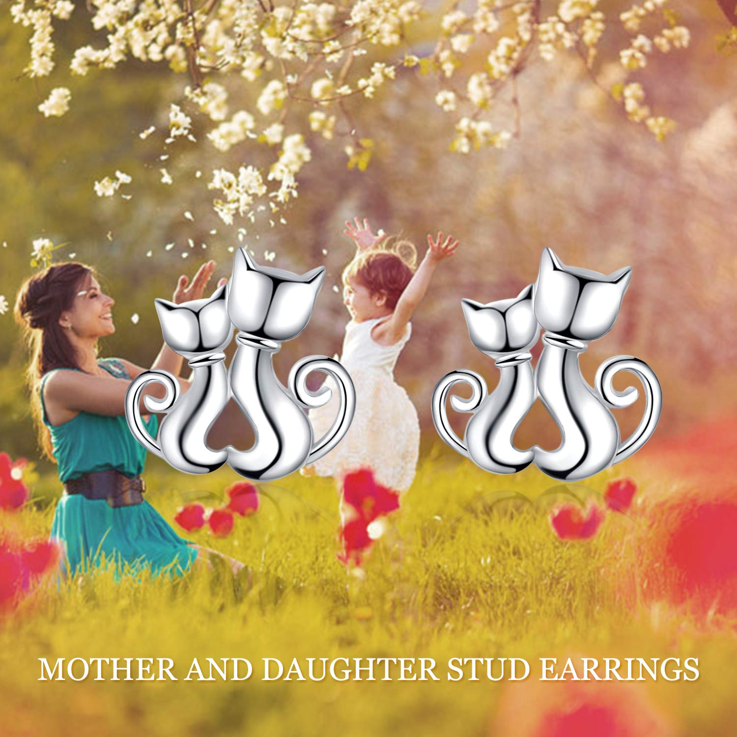 Mother and Daughter Cat Pendant Necklace Sterling Silver Cute Hypoallergenic Double Cat Jewelry for Women Girls Sisters PYE032 LUHE Cat Earrings,Cat Pendant Necklace,Cat Brooch Sterling Silver Cute Hypoallergenic Double Cat Jewelry for Women Girls Sisters