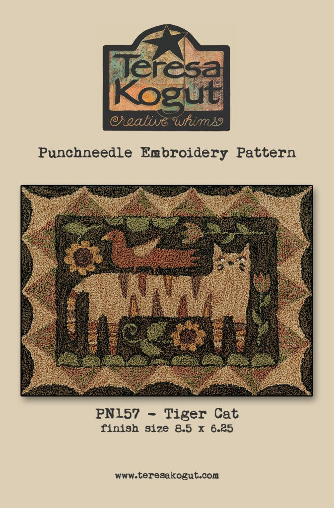 Tiger Cat Bird Punchneedle Punch Needle Embroidery Teresa Kogut Pattern PN157 Folk Art