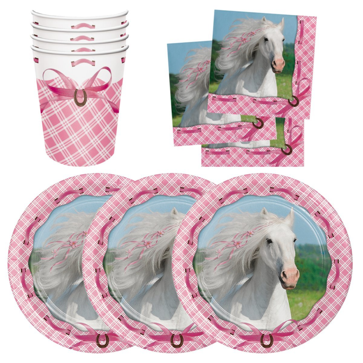 Lovely Pink Horse Birthday Party Supplies Set Plates Cups Napkins Tableware Kit for 16 Guests by PCBS Parties Can Be Simple