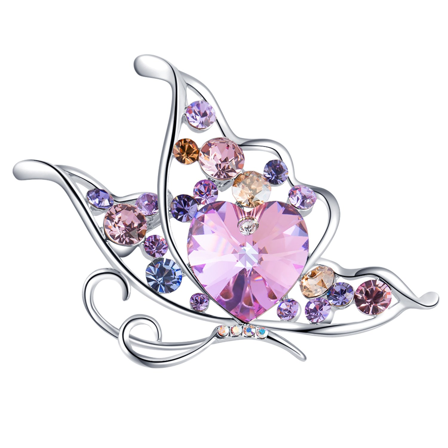 RAINBOW BOX Butterfly Brooches for Women, Heart Crystal from Swarovski Jewelry Brooch Pins for Girlfriend Mom Her Valentine Christmas Birthday Gift (Purple)