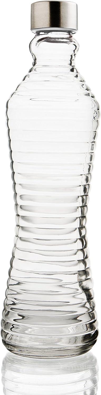 Quid Botella 1L con Tapa Line Transp, 1 Liter, Vidrio, Transparente