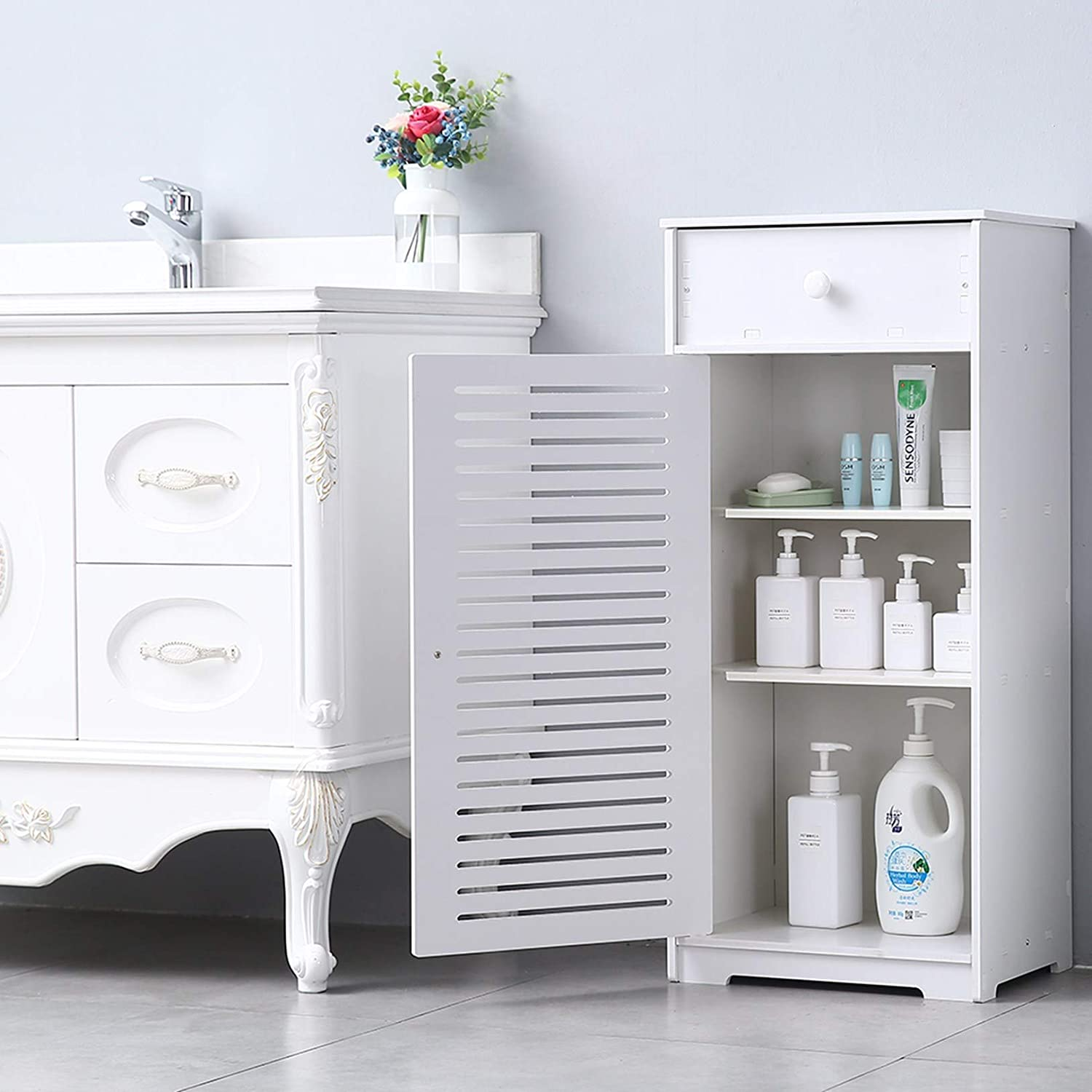 - Bathroom Furniture Organizer Shelf for Paper Shampoo Save Space for Small Bathroom BB 16 x 11.8 x 35.5 BRLUCKY Home HomeLiving Single Door with Drawer Three Compartments 35.5 High Storage Cabinet