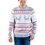 Tipsy Elves Men's Grey Humping Reindeer Sweater - Funny Reindeer Christmas Sweater