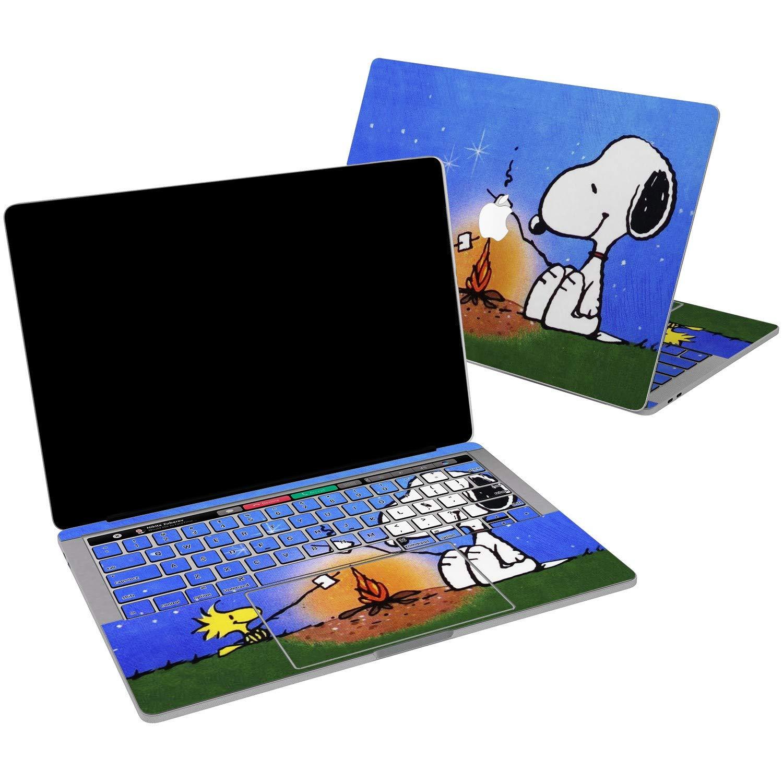 Lex Altern Vinyl Skin for MacBook Air 13 inch Mac Pro 15 Retina 12 11 2019 2018 2017 2016 2015 Snoopy Dog Cartoon Cute Blue Puppy Beagle Bonfire Wrap Laptop Cover Protective Decal Sticker Touch Bar