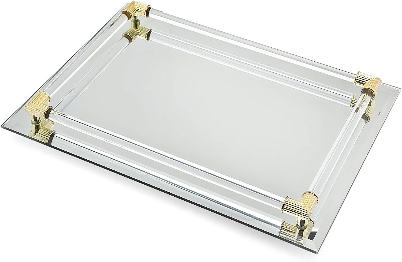 """B0014AU17C Mirror Tray Vanity Tray Serving Tray with Crystal Border - 9"""" x 14"""" 71uIlYuWgYL"""