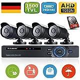 Floureon - Kit de 4 Camaras de Vigilancia Seguridad (H.264 CCTV DVR P2P 8CH AHD 1080N y 4 Camaras IP 720P 1Mp Impermeable, Ir-cut, Visión Nocturna, 1T Disco Duro HDMI), 36 LEDs 1500TVL 1
