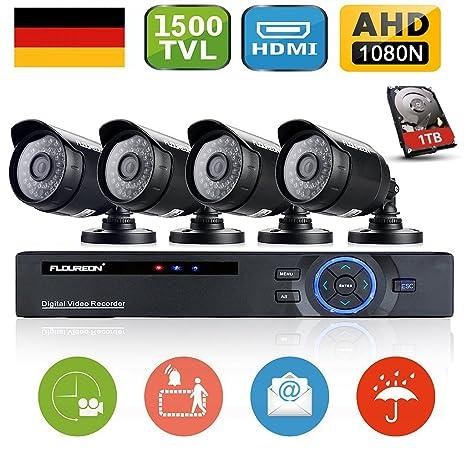 Floureon - Kit de 4 Camaras de Vigilancia Seguridad (H.264 CCTV DVR P2P 8CH AHD 1080N y 4 Camaras IP 720P 1Mp Impermeable, Ir-cut, Visión Nocturna, 1T ...
