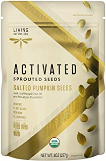 product image for Living Intentions Organic Sprouted Pumpkin Seeds: Salted – NonGMO – Gluten Free – Vegan –Kosher – Paleo - 8 Ounce Unit