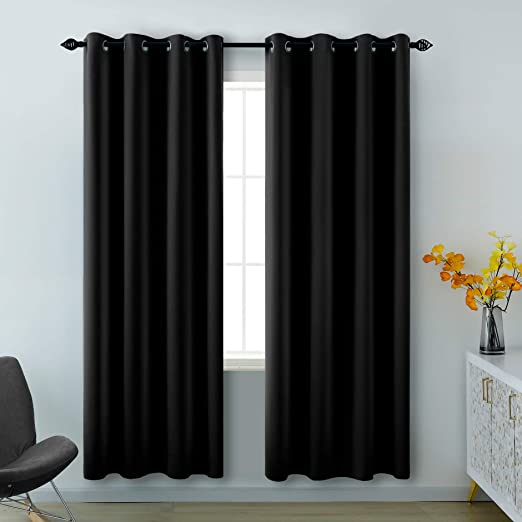 Amazon Com Black Curtains 84 Inches Long For Living Room 2 Panels Grommet Window Drapes Insulated Thermal Light Blocking Room Darkening Basic Blackout Curtains For Bedroom 52x84 Inch Length Kitchen Dining