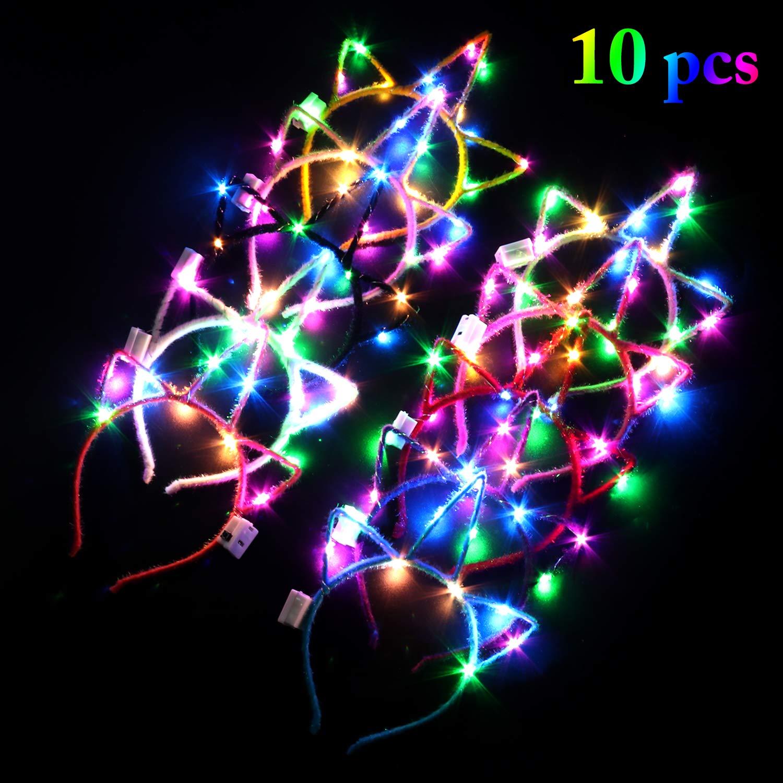para disfraz cosplay decoraci/ón de fiestas 10 diademas de unicornio con luces LED para adultos y ni/ños