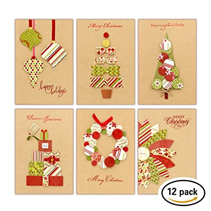 Amazon.com : Christmas Greeting Card Assortment | Handmade Kraft ...