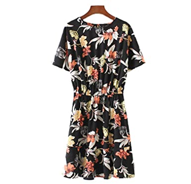Amazon.com: Bang-pa Fashion women vintage floral dress O neck short sleeve elastic waist ladies summer causal brand dresses vestidos QZ2967: Clothing
