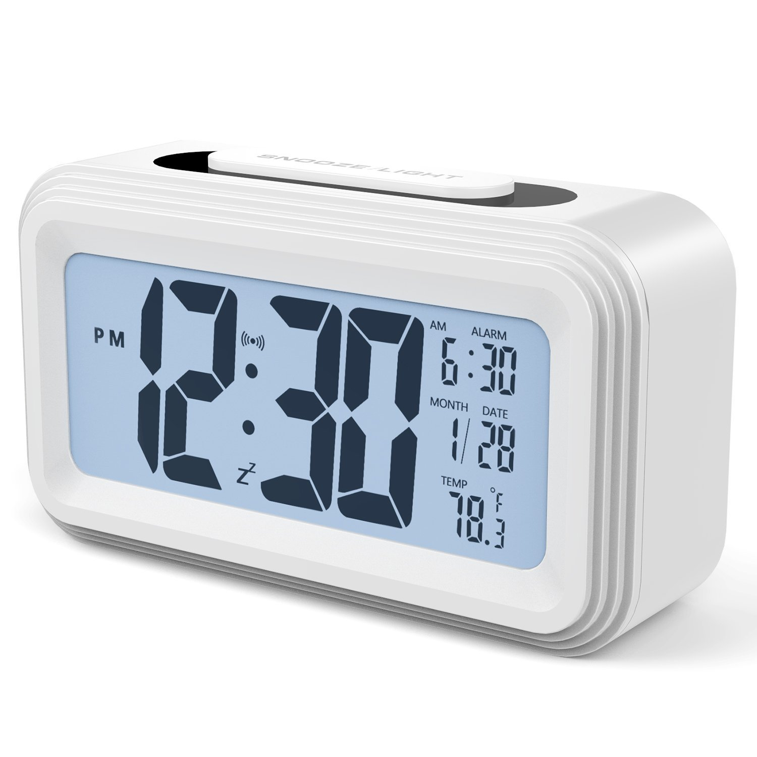Bedside Non Ticking Alarm Clock, Battery Powered Bedside Clock Silent Simple to Set alarm clock travel with Nightlight Protect the Eyes, Analog Alarm Clock for Bedside Nightstand (A-White) Timere