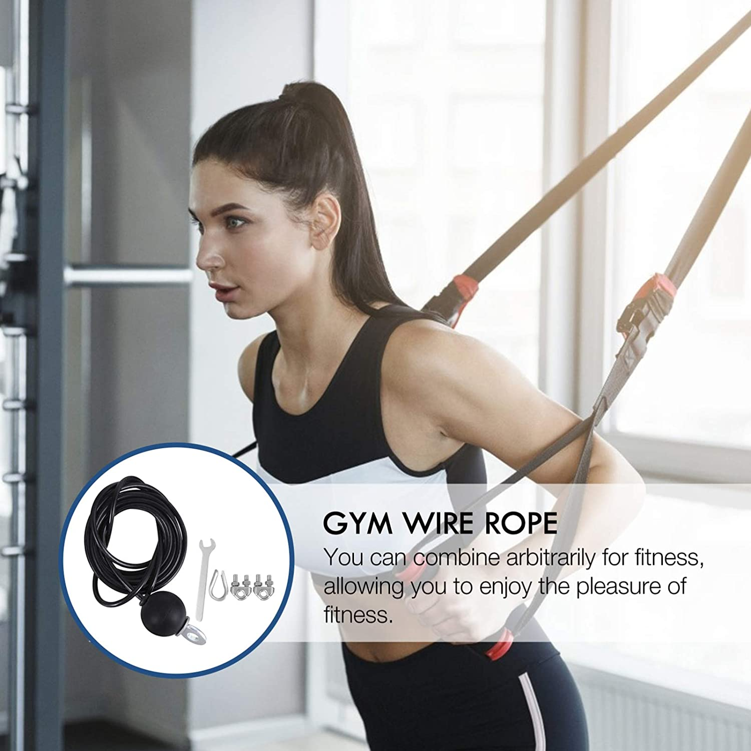 BESPORTBLE 1 Set 3 Meters DIY Fitness Wire Rope Pulley Machine System Adjustable Gym Cable Heavy Duty Steel Rope Pulley Gym Equipments