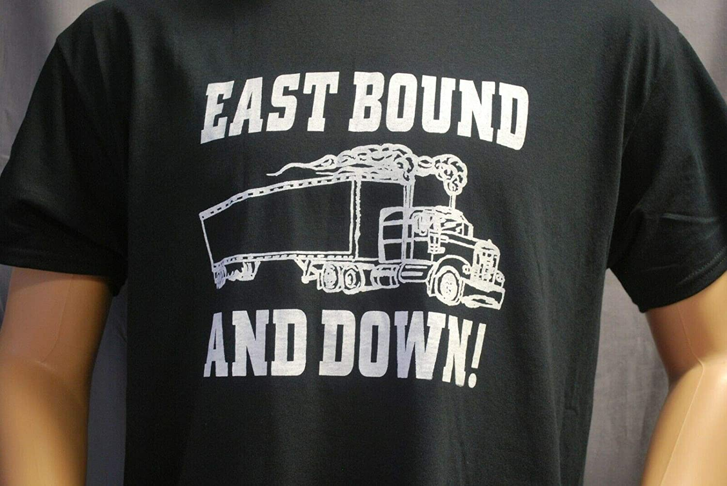 EAST BOUND AND DOWN T-SHIRT SIZE MEDIUM TEE RACE CITY RETRO SMOKEY BANDIT TRANS AM BAN ONE TRUCKER BEER CARGO MOVIE BURT REYNOLDS JERRY REED MR BIG KENWORTH MACK PETERBILT TRACTOR TRAILER GIFT